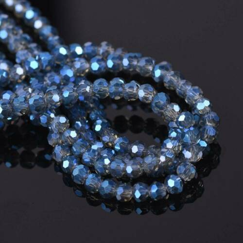 3mm 4mm 6mm 8mm Round 32 Facets Faceted Crystal Glass Loose Beads Lot AB Plated