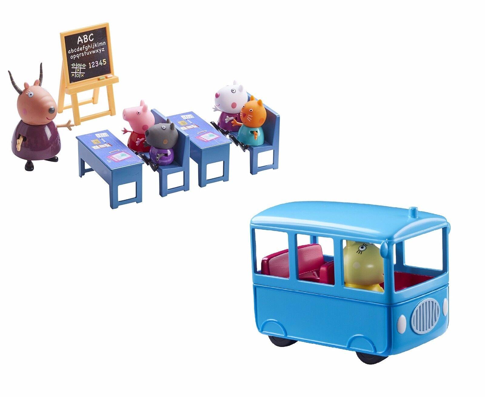 Peppa schwein peppa mini - autobus scolaire & salle de classe paquet set jeux jouet