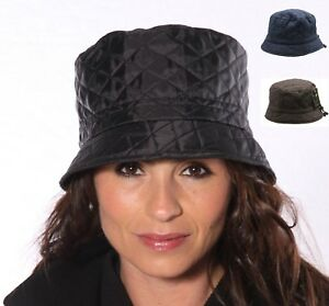 Image is loading Black-Bush-Hat-Bucket-Showerproof-Navy-Quilted-Rain- 38323460276