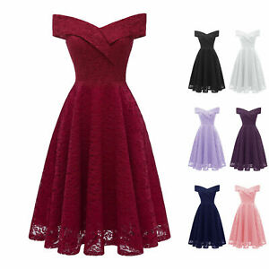 Women-Bridesmaid-Off-the-shoulder-High-Waist-Vintage-A-line-Cocktail-Lace-Dress