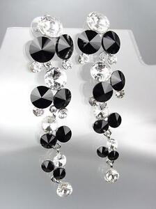 EXQUISITE-Black-Clear-Czech-Crystals-Chandelier-Long-Dangle-CLIP-Earrings-1057