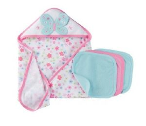 Gerber 4 Piece Baby Girl Terry Bath Set Blue Pink Butterfly Baby