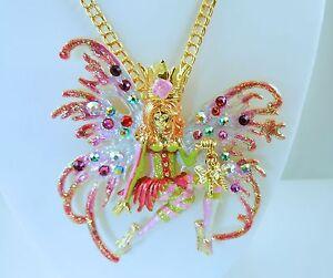 Kirks-Folly-Avalon-Pink-Mist-Fairy-Pin-Pendant-Necklace-Gold-Finish