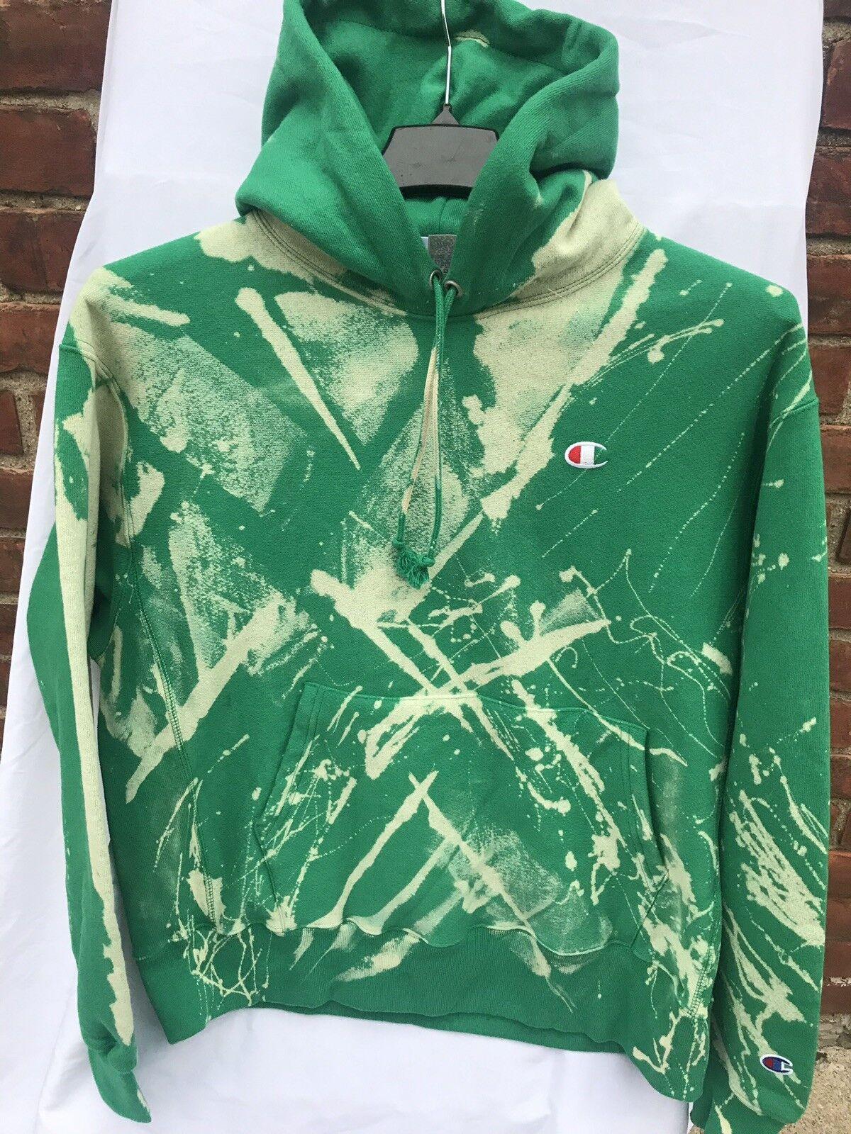 GRÖSSE L Champion Reverse Gewebe Bleiche X Grün Pigment Kapuzenpullover