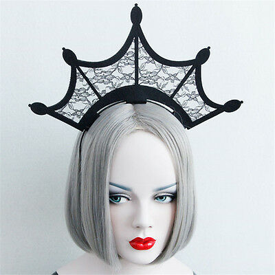 Women Gothic Prom Cosplay Crown Hair Band Headband Halloween Style Evil Headband