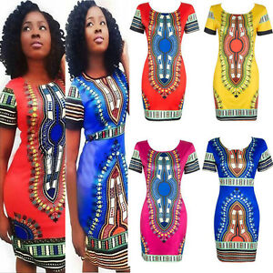 432896a6cdb Women s Traditional African Print Dashiki Bodycon Sexy Short Sleeve ...