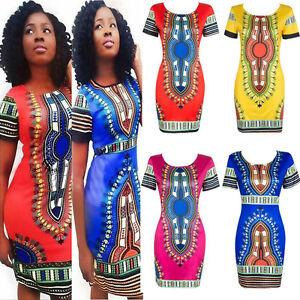 Women-039-s-Traditional-African-Print-Dashiki-Bodycon-Sexy-Short-Sleeve-Slim-Dress