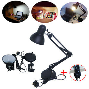 Large black clamp clip on led adjustable craft reading for Clip lights for crafts