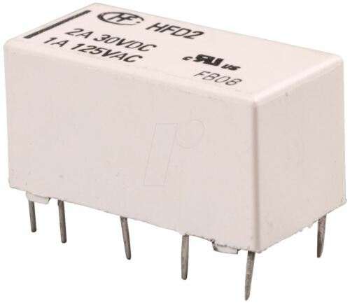 10 x 12V Miniature Latching Relay DPDT HFD2