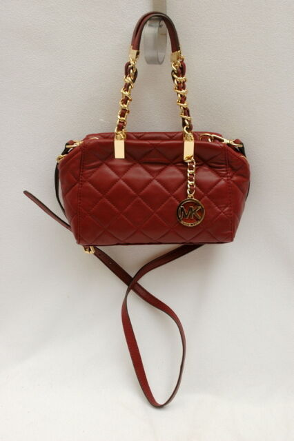 5fa54343b73 Michael Kors Susannah Claret Small Leather Satchel Handbag Purse Red Gold
