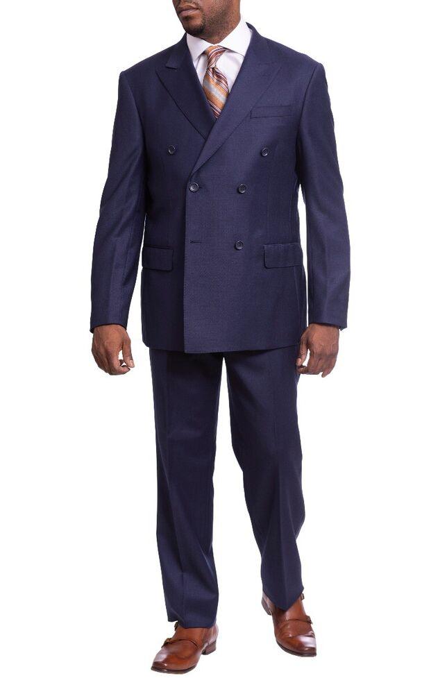 Acheter Pas Cher Hommes Coupe Classique Solide Bleu Marine Double Boutonnage Wool Suit Pic Revers Utilisation Durable