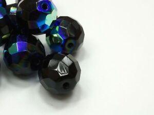 6-Boehmische-Glasschliffperlen-14mm-Schwarz-AB-Jet-Perlen-Glasperlen-Rund-Y148
