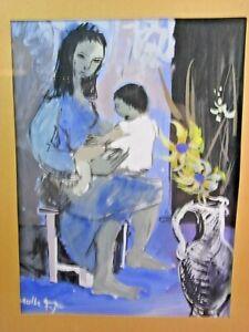 TABLEAU-PEINTURE-AQUARELLE-JEAN-ETIENNE-MULLER-ABSTRAIT-1954-FEMME-ENFANT-PAINT