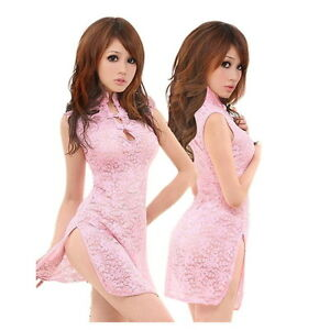 f1caf36be Image is loading New-Sexy-Lace-Transparent-Cheongsam -Dress-Lingerie-Underwear-