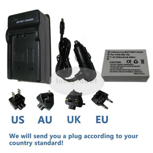 X G1 Mark 1 Cargador para CANON NB-10L Powershot G16 SX50 SX60 HS Batería