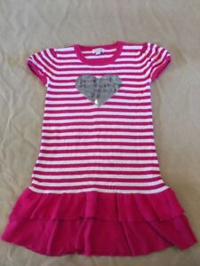 998271491 The Children's Place Dress 10-12 Silver Sequin Heart Pink Striped ...