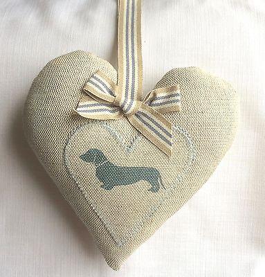 Emily Bond Blue Dachshund Appliqued heart Laura Ashley Austen linen Easter Gift