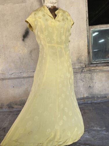 Antique 1930s Yellow Silk Anchor & Buoy Brocade Na