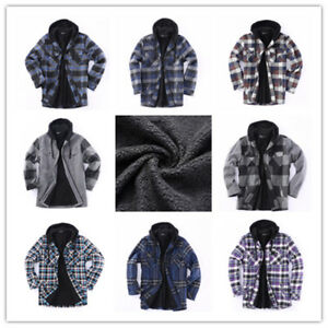 Hooded-Zip-Flannel-Jacket-Plaid-Jacket-With-Sherpa-Lined-Heavy-Fleece-US-Stock
