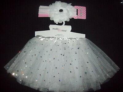 Baby Girls WHITE GLITTER TUTU Skirt Fancy dress costume /& headband 3-24mth NEW