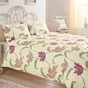 FLORAL-PURPLE-GREEN-CREAM-COTTON-BLEND-DOUBLE-DUVET-COVER