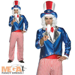 Adult Uncle Sam Costume Mens American Army Independence Fancy Dress Outfit New