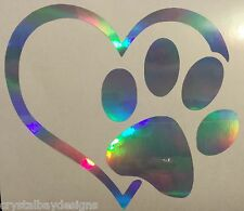 Love Dog Heart Paw Rainbow Holographic Vinyl Car Decal Sticker Laptop 24-63
