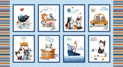 Feline Friends Cat Fabric Panel