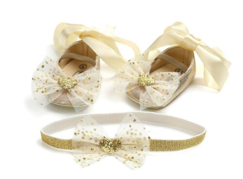 Baby Shower Girl Kid Birthday Party Gold Lace Ballet Bow Shoes Hair Headband Set