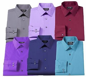 New-Men-039-s-Apt-9-Slim-Fit-Stretch-Spread-Collar-Dress-Shirt-7-Colors-MSRP-45