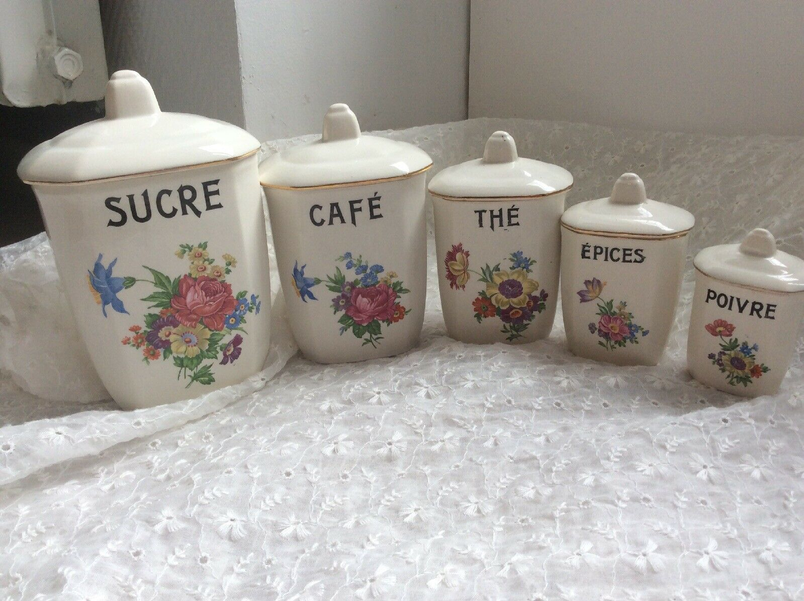 Vintage French Ceramic Porcelain Kitchen CANISTER SET Floral Digoin Sarreguemine