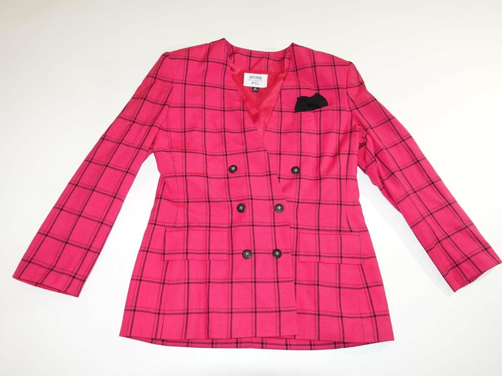 Kasper A. S. L.Damen Zweireihig Jacke Blazer Größe 10 Rosa Kariert Gefüttert