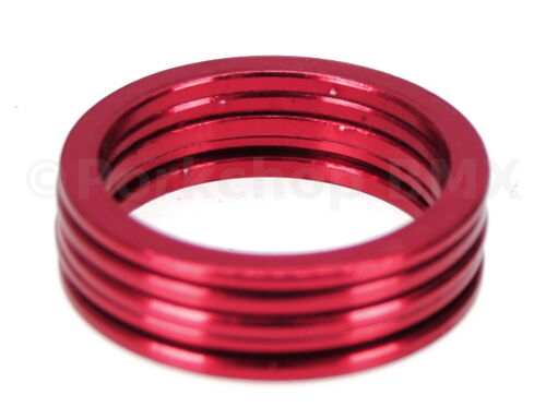 "RED SET of 5 2mm Bicycle BMX or MTB headset spacers for 1 1//8/"" threadless"