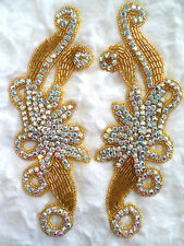 XR27 Gold Beaded Crystal AB Rhinestone Appliques Mirror Pair Motifs 7.5""
