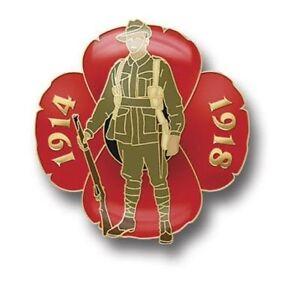 GREAT WAR DIGGER POPPY LAPEL PIN  - AUSTRALIAN REMEMBERANCE DAY NOV 11th