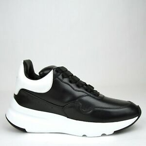 Details about $590 Alexander McQueen Women's Black/White Leather Runner  Sneaker 520014 1070
