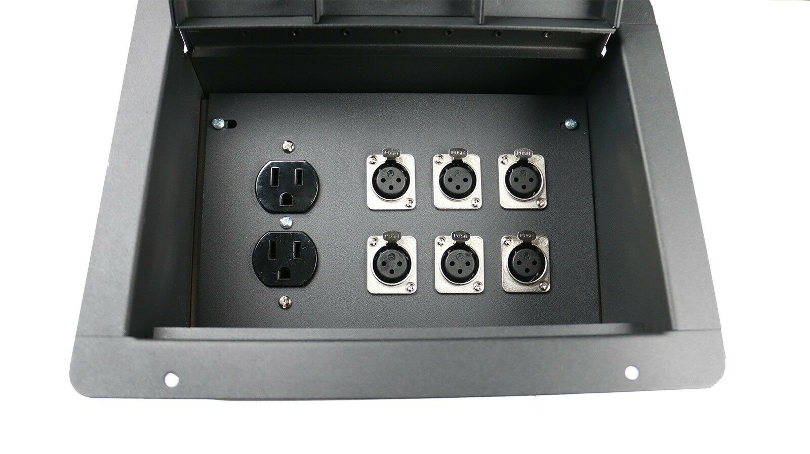 Recessed Floor Pocket Stage Box With 6 XLRF + Duplex AC by Elite Core
