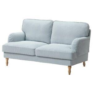 Details zu Ikea Bezug fur Stocksund 2-Sitzer Sofa - Remvallen Blau/Weiß  503.063.43