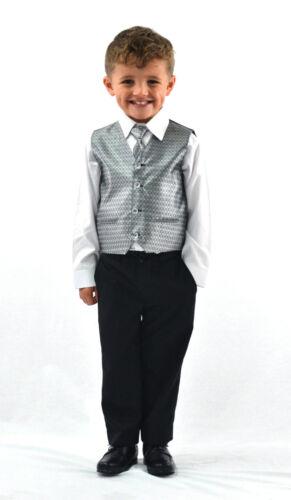 Boys Suits Waistcoat Suit Page Boy Silver Wine Gold Wedding Waistcoat 4pc Suit