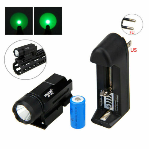 3000LM XPE Q5 LED White//Green Hunting Flashlight Torch 16430 fit 20mm Rail Mount