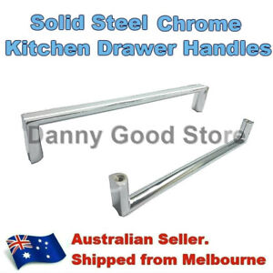 Details About Polished Chrome Steel Square Pulls Handles Kitchen Cabinet Cupboard Drawer 160mm