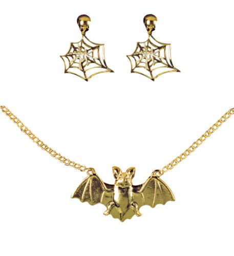 FLEDERMAUS KETTE /& SPINNENNETZ OHRCLIPS Halloween Hexen Vampir Schmuck Set 5014