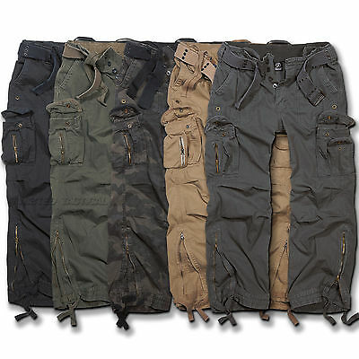 BRANDIT ROYAL VINTAGE CLASSIC COMBAT CARGO PANTS + BELT, ARMY MILITARY TROUSERS