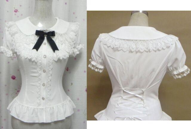 Fashion Sweet Lolita Princess Punk Cute Kawaii Slim Shirt Blouse White S~XL