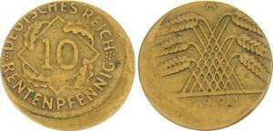 10 Pfennig 1924 A, Fehlprägung: 15% dezentriert, ohne Riffelrand ss, Fehlp 63783