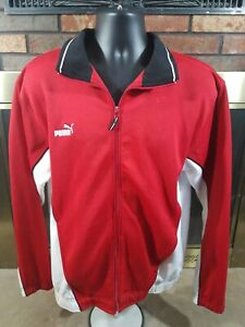7a3e797f1b265 Details about Puma Retro Track Basketball Warmup Full Zip Jacket Mens Size  Large Red White