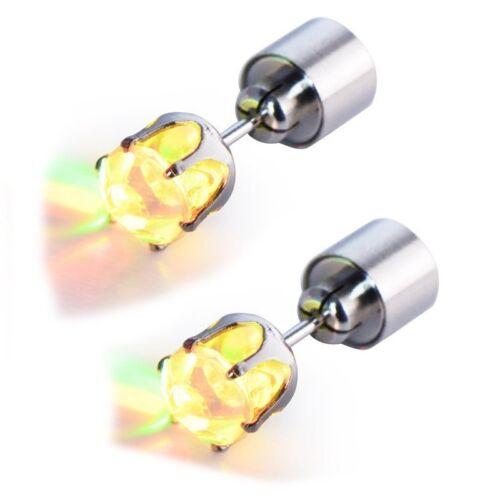 1 Paire de Boucles d/'oreilles clou LED lumineux goujon Accessoires Bijoux M J1D8