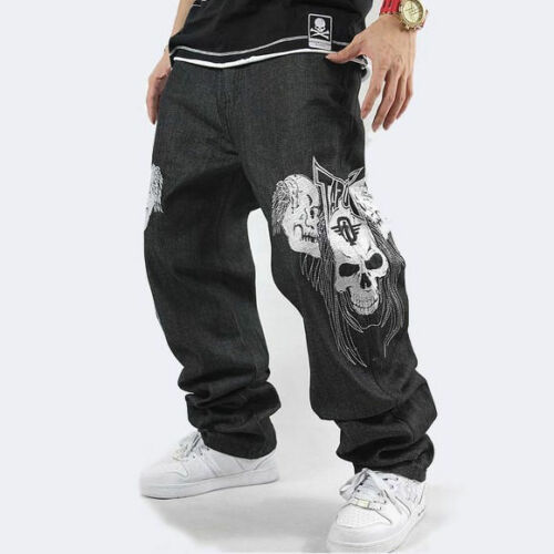 Uomo Hip Hop Jeans Denim Ricamo Teschio Scheletro Pantaloni Larghi
