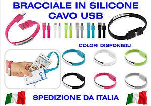 Cable-Micro-USB-Pulsera-Brazalete-Colorido-Silicone-Suave-Fashion-Design