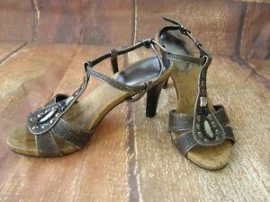 Details about NEW Womens Ladies UNISA Dark Silver Sparkly Strappy Stiletto Heels Shoes 6.5